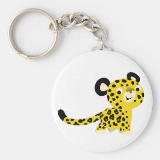 Porte - clé amical de léopard de bande dessinée porte-clé rond