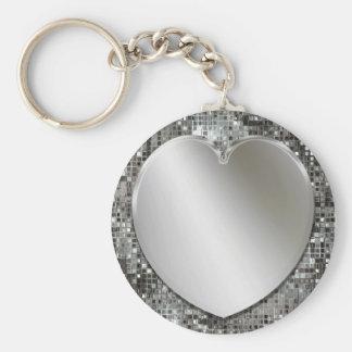 Porte - clé argenté de coeur porte-clé rond