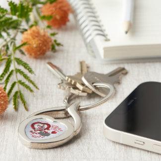 Porte - clé argenté en forme de coeur en métal de porte-clé argenté cœur torsadé