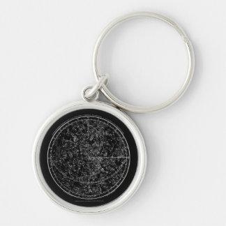 Porte - clé astrologique porte-clé rond argenté
