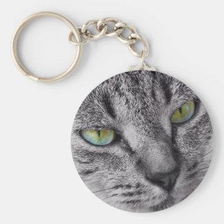 Porte - clé aux yeux verts de chat tigré porte-clé rond