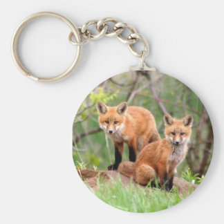 Porte - clé avec la photo des kits de renard rouge porte-clé rond