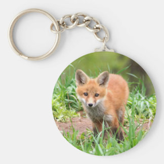 porte - clé avec la photo du kit de renard rouge porte-clé rond