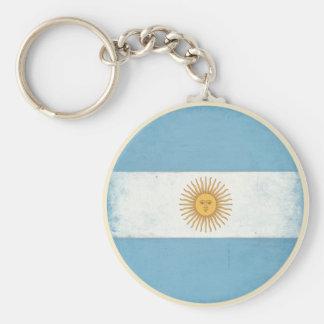 Porte - clé avec le drapeau affligé d'Argentine Porte-clé Rond