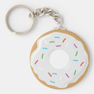 Porte - clé blanc de beignet de crème porte-clé rond