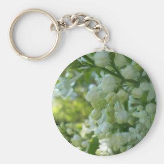 Porte - clé blanc de lilas porte-clé rond