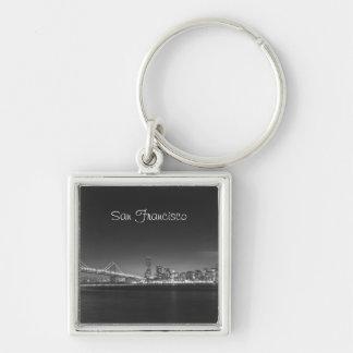 Porte - clé blanc de photo de noir d'horizon de porte-clé carré argenté