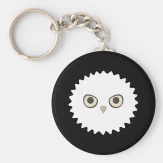 Porte - clé blanc de Zoi de hibou (noir) Porte-clé Rond