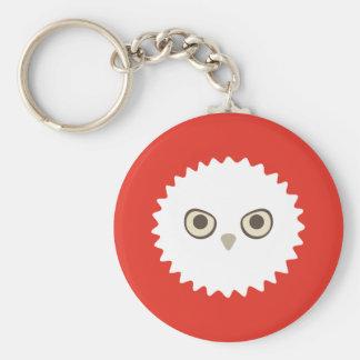 Porte - clé blanc de Zoi de hibou (rouge) Porte-clé Rond