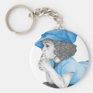 Porte - clé bleu de la fille 1 porte-clé rond