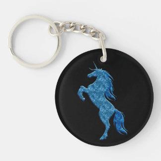 Porte - clé bleu de licorne du feu porte-clé rond en acrylique double face