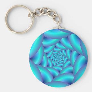 Porte - clé bleu de spirale de corde porte-clefs