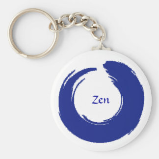 Porte - clé bleu de zen porte-clé rond