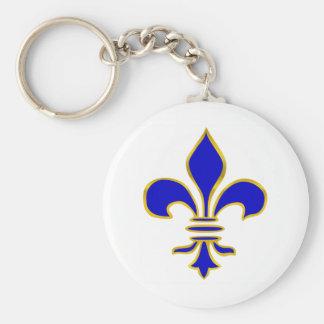 Porte - clé bleu-foncé et de gold fleur de lis porte-clé rond