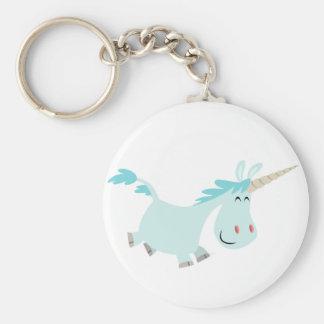 Porte - clé bleu mignon de licorne de bande dessin porte-clé rond