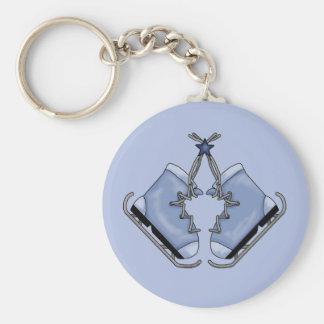 Porte - clé bleu mignon de patins de glace porte-clé rond