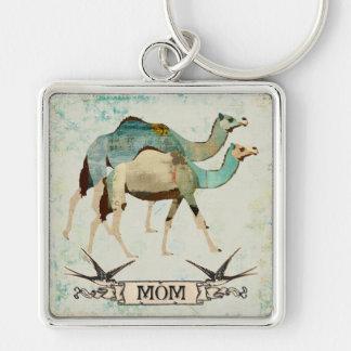 Porte - clé bleu rêveur de maman de chameaux porte-clé carré argenté