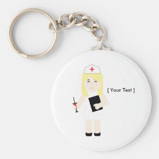 Porte - clé blond mignon d'infirmière porte-clé rond
