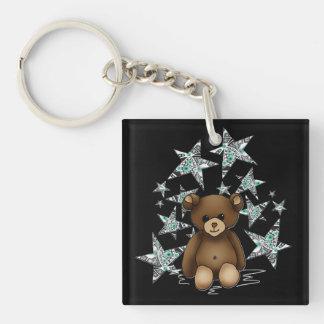Porte-clé carré Nounours et étoiles