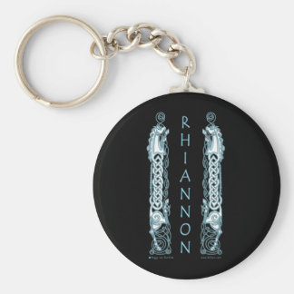 Porte - clé celtique de cheval de Rhiannon, noir Porte-clé Rond