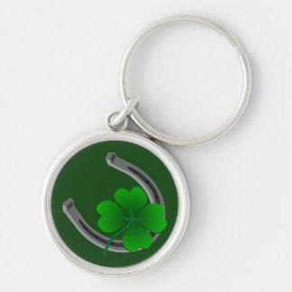 Porte - clé chanceux 4 cadeaux chanceux de porte - porte-clé rond argenté