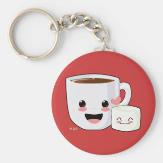 Porte - clé chaud de cacao et de guimauve porte-clé rond