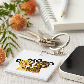 Porte - clé coquet mignon d'acrylique de jaguars porte-clé carré en acrylique double face