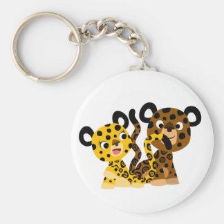 Porte - clé coquet mignon de jaguars de bande porte-clé rond