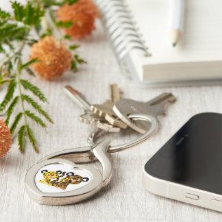 Porte - clé coquet mignon en métal de jaguars de porte-clé argenté cœur torsadé