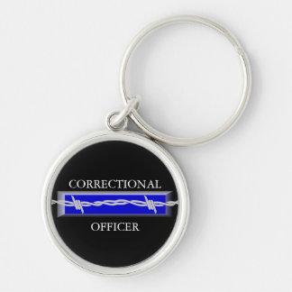 Porte - clé correctionnel de police de dirigeant porte-clé rond argenté