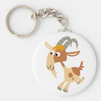 Porte - clé courant de chèvre de bande dessinée porte-clé rond