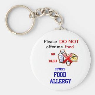 Porte - clé d'Allert d'allergie de laiterie Porte-clé Rond