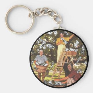 Porte - clé d'arbre d'argent porte-clé rond
