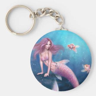 Porte - clé d'art de sirène de poisson rouge porte-clé rond