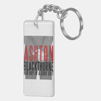 Porte - clé d'Ashton Blackthorne Porte-clé Rectangulaire En Acrylique Double Face
