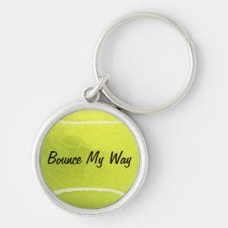 Porte - clé de balle de tennis - personnalisé porte-clé rond argenté