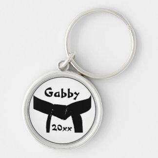 Porte - clé de base de ceinture noire d'arts porte-clé rond argenté