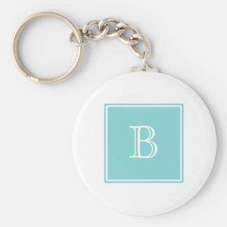 Porte - clé de base de monogramme carré de porte-clé rond