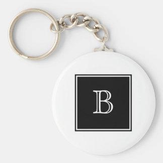 Porte - clé de base de monogramme de carré noir porte-clé rond