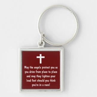 Porte - clé de bénédiction de la prière du porte-clé carré argenté