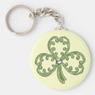 Porte - clé de bijou de shamrock de St Patrick Porte-clé Rond