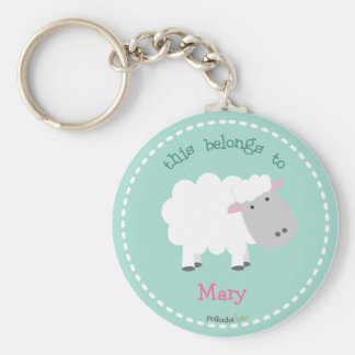 Porte - clé de blanc de moutons porte-clé rond