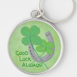Porte - clé de bonne chance porte-clé rond argenté