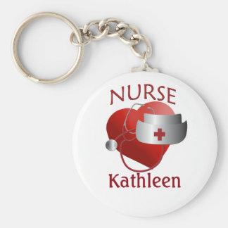 Porte - clé de bouton de coeur d'infirmière de nom porte-clé rond