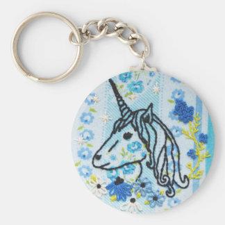 Porte - clé de broderie de licorne - porte - clé porte-clé rond