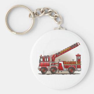 Porte - clé de camion de pompiers de crochet et porte-clé rond