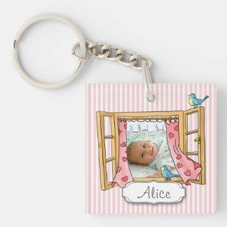 Porte - clé de carré de fenêtre de bébé porte-clé carré en acrylique une face