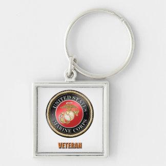 Porte - clé de carré de prime de vétéran d'usmc porte-clé carré argenté