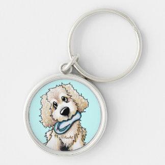 Porte - clé de chien de griffonnage porte-clé rond argenté