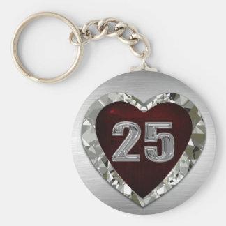 Porte - clé de coeur de 25 diamants porte-clé rond